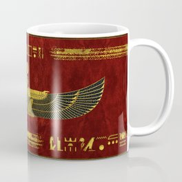Golden Egyptian God Ornament on red leather Coffee Mug