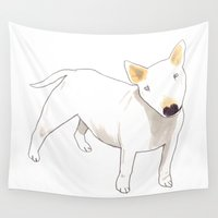 terrier Wall Tapestries featuring Bull Terrier by jo clark