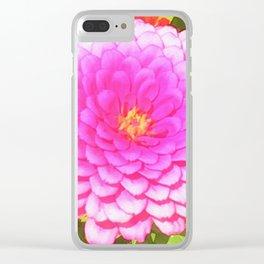 Pretty Round Pink Zinnia in the Summer Garden Clear iPhone Case