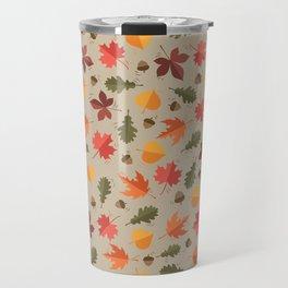 Autumn Leaves Pattern Beige Background Travel Mug