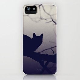 Mistery cat perching on tree in misty night iPhone Case