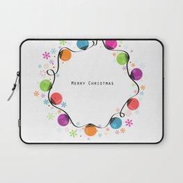 Circle Christmas light bulbs vector and snowflakes greeting card Laptop Sleeve