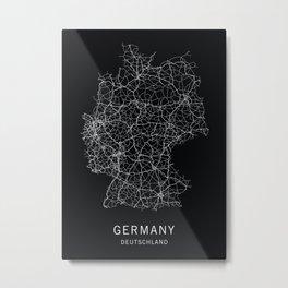 German Road Map Metal Print