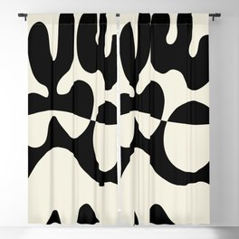 Mid Century Modern Organic Abstraction 235 Black and Linen Blackout Curtain