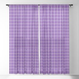Purple with White Grid Sheer Curtain