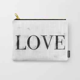 Love - Distressed - Black Letters Carry-All Pouch