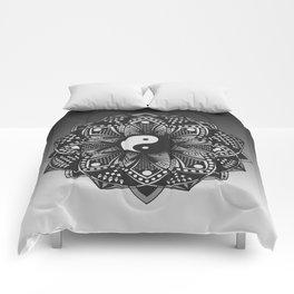 Yin and Yang Mandala (Black & White) Comforters