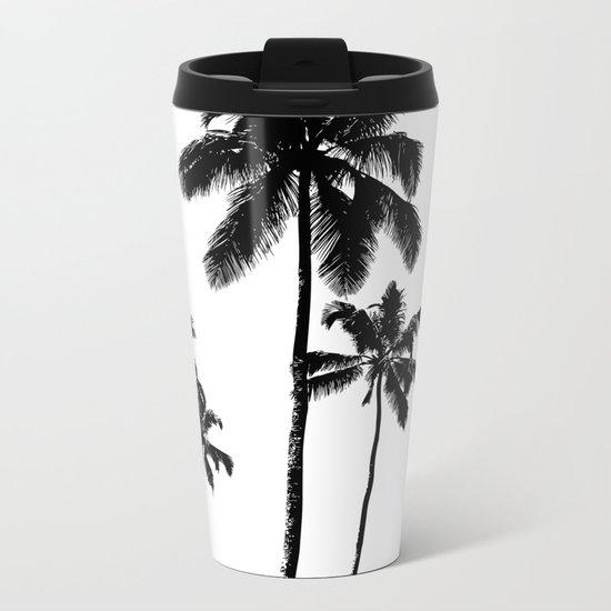 Monochrome tropical palms Metal Travel Mug