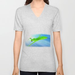 Green airplane on sunny sky Unisex V-Neck