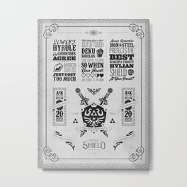 Legend of Zelda - The Hylian Shield Foundry Metal Print