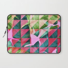 Abstract Hot Pink Banana Leaves Design Laptop Sleeve