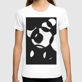 Circle Spirals Black & White Minimalist Ink Tribal Mid Century Pattern Dark Painting Pattern T-shirt
