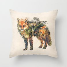The Fox Nature Surrealism Throw Pillow