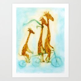 Family of giraffes rides a bicycle-tandem Art Print