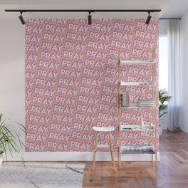 'Pray' Trendy Rainbow Text Pattern (Pink) Wall Mural