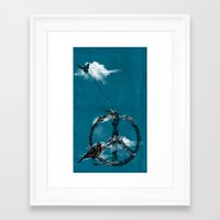 sewing Framed Art Prints featuring sewing birds by frederic levy-hadida