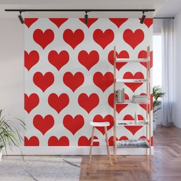 Holidaze Love Hearts Red Wall Mural