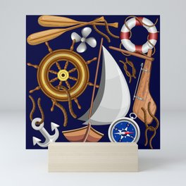 Nautical Marine and Navy Equipment Pattern Mini Art Print