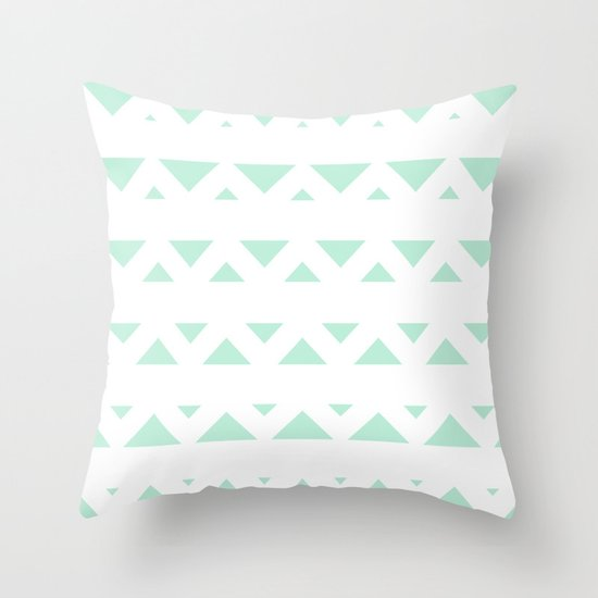 Tribal Triangles Mint Green Throw Pillow