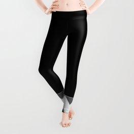 Chevron Gray Black And White - Glamour Leggings
