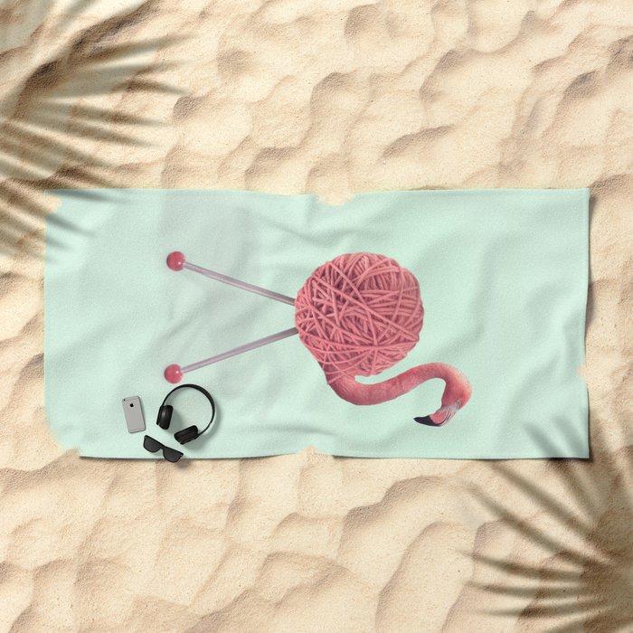 YARN FLAMINGO Beach Towel