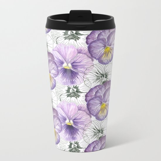 Pansy pattern Metal Travel Mug