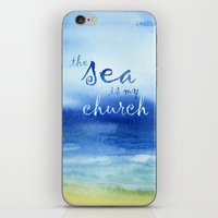 reassurance iPhone & iPod Skins featuring The Sea Is My Church (text) by Jacqueline Maldonado