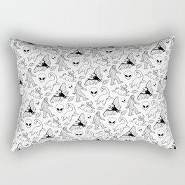Cryptid Lineart Pattern 2 (White) Rectangular Pillow