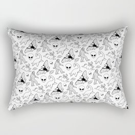 Cryptid Lineart Pattern 2 (White) Rectangular Pillow