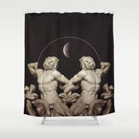 teen titans Shower Curtains featuring 'Titans of Division' by Thom Easton