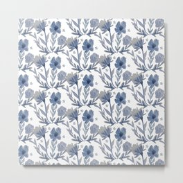 Chambray Flower Pattern Metal Print