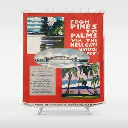 Vintage poster - Hellgate Bridge Shower Curtain