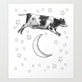 Cow Jumping Over The Moon Art Print