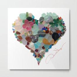 Love - Original Sea Glass Heart Metal Print