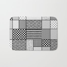 Black patterns in rectangles and squares Bath Mat