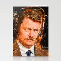 ron swanson Stationery Cards featuring Ron Swanson by lucaguglielmi