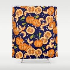 Pumpkin night life Pattern Shower Curtain