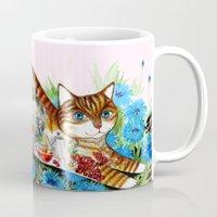 russian Mugs featuring Russian cat by oxana zaika