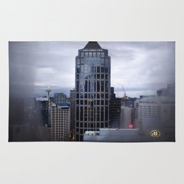 Seattle Skyline and Space Needle on a Cloudy Day Rug