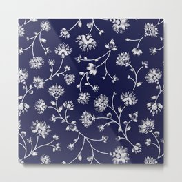 Indigo Floral Trail Metal Print