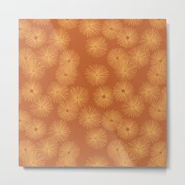 Orange Nasturtium Seamless Patten Metal Print