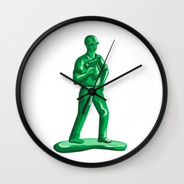 Green Construction Worker Nailgun Retro Wall Clock