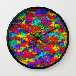 Rainbow camouflage Wall Clock