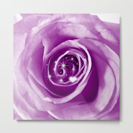 Trendy Bling on Rose,lilac Metal Print