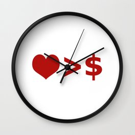 Love is more important  than Money Concept Illustration Wall Clock