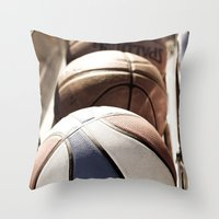 basketball Throw Pillows featuring Basketball by SShaw Photographic