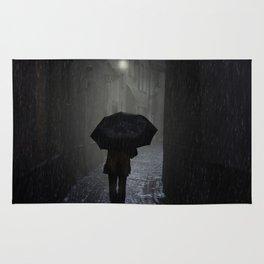 Night walk in the rain Rug