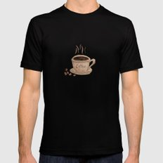 Coffee Please Mens Fitted Tee Black MEDIUM