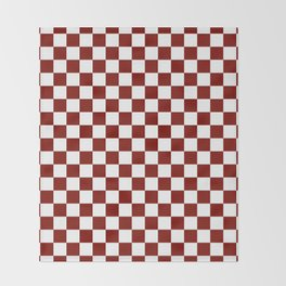 Vintage New England Shaker Barn Red and White Milk Paint Jumbo Square Checker Pattern Throw Blanket