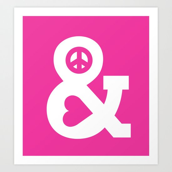 Peace and Love (pink edition) Art Print
